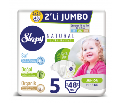 Sleepy Natural Bebek Bezi 5 Numara Junior 2'Lİ JUMBO(11-18 Kg)