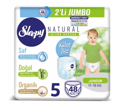 2'li Jumbo Sleepy Natural Külot Bez 5 Numara Junior 2X24 Adet (11-18 Kg)