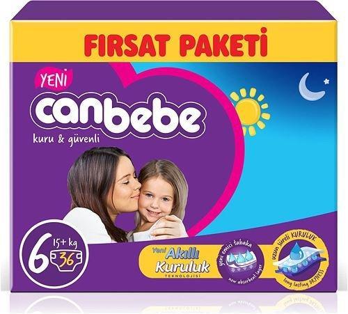 Canbebe 6 Numara Extra Large 36 Adet Aylık Paket Bebek Bezi